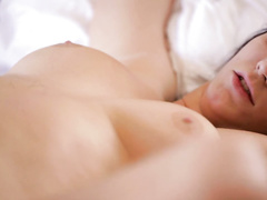 Slender sweet brunette babe does awesome tight blowjob