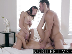 Two brown haired babe are hotly fucking with one guy