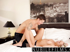 Amazingly sexy blonde in hot underwear gets seduced for hot fuck