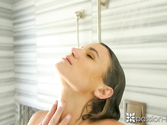 Gorgeous brunette beauty passionately fucks in the bathroom