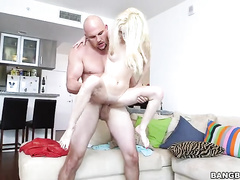 Strong fucker works hard with small blonde's vagina