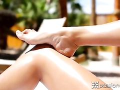 Hot brunette Anissa Kate got excitingly stroked on tanning couch and fucked hard