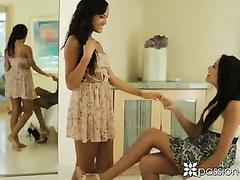 Horny bisexual babes Chloe Amour and Giselle Mari are satisfying Johnny Castle