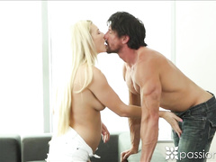 Blonde girl Addison Avery blowjobs and gets fucked hard by Tommy Gunn
